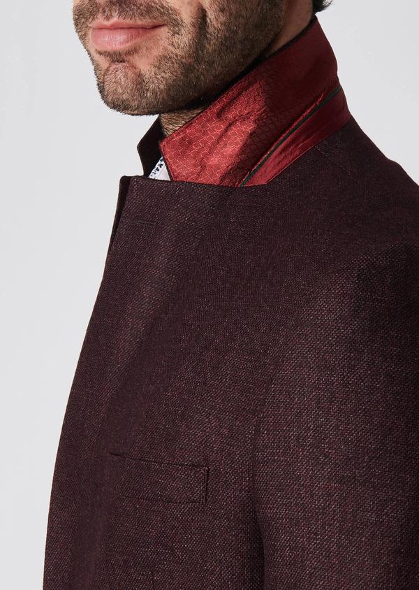 Veste casual Regular en laine mélangée unie rouge foncé - Father and Sons 29196