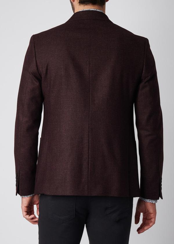 Veste casual Regular en laine mélangée unie rouge foncé - Father and Sons 29195