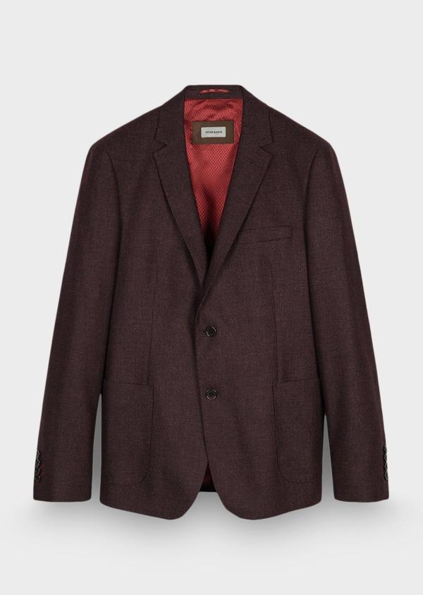 Veste casual Regular en laine mélangée unie rouge foncé - Father and Sons 29193