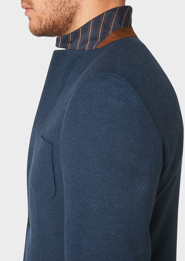 Veste casual Regular en coton mélangé uni bleu marine - Father and Sons 33615
