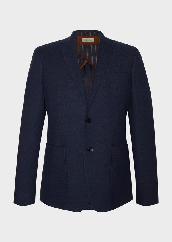 Veste casual Regular en coton mélangé uni bleu marine - Father and Sons 33611