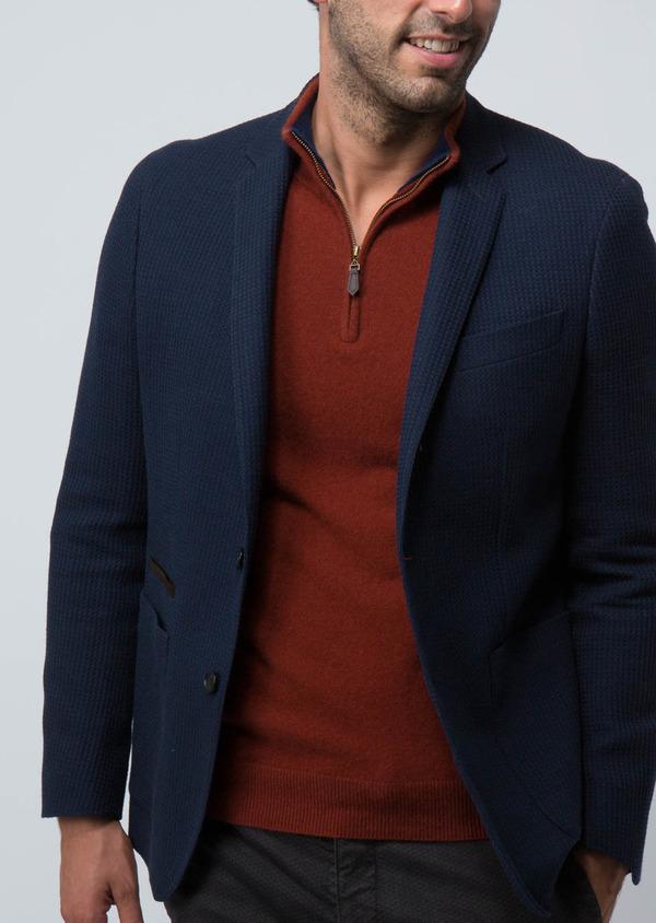 Veste casual Regular en laine et coton unis bleus - Father and Sons 29187