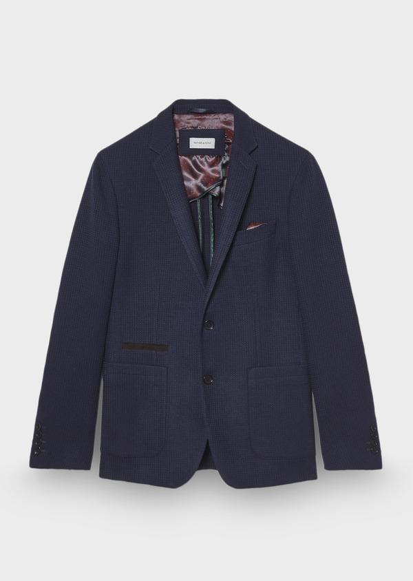 Veste casual Regular en laine et coton unis bleus - Father and Sons 29186