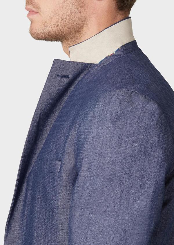 Veste coordonnable Regular en coton mélangé uni bleu turquin - Father and Sons 34090