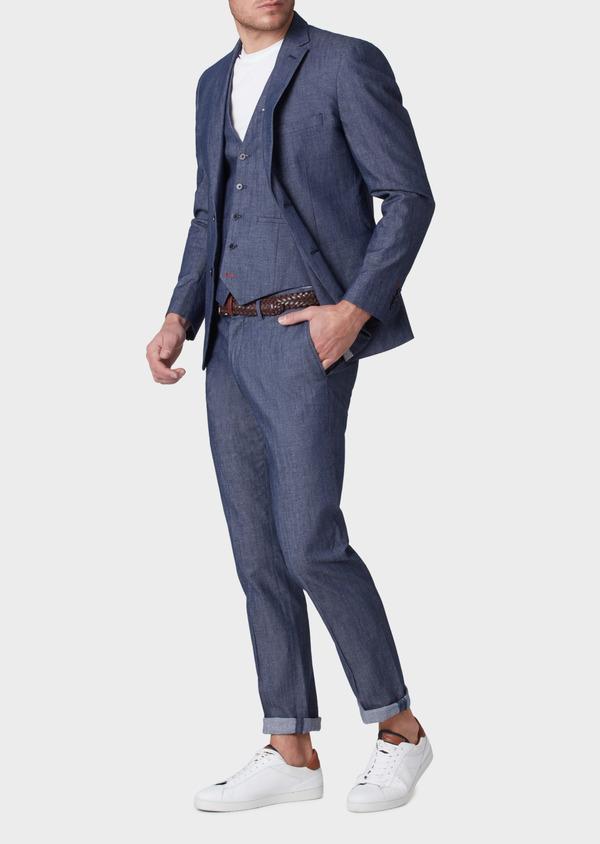 Veste coordonnable Regular en coton mélangé uni bleu turquin - Father and Sons 34088