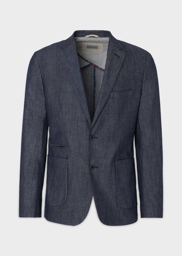 Veste coordonnable Regular en coton mélangé uni bleu turquin - Father and Sons 34086