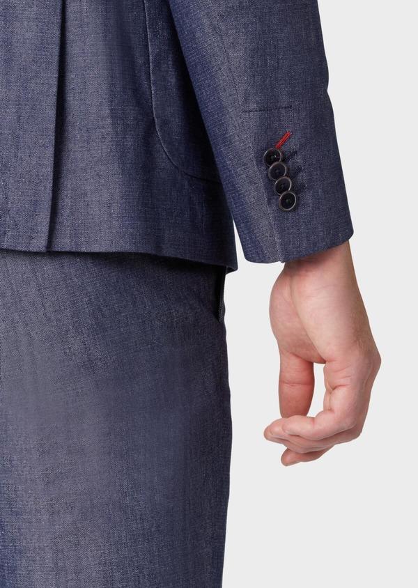 Veste coordonnable Regular en coton mélangé uni bleu turquin - Father and Sons 34091