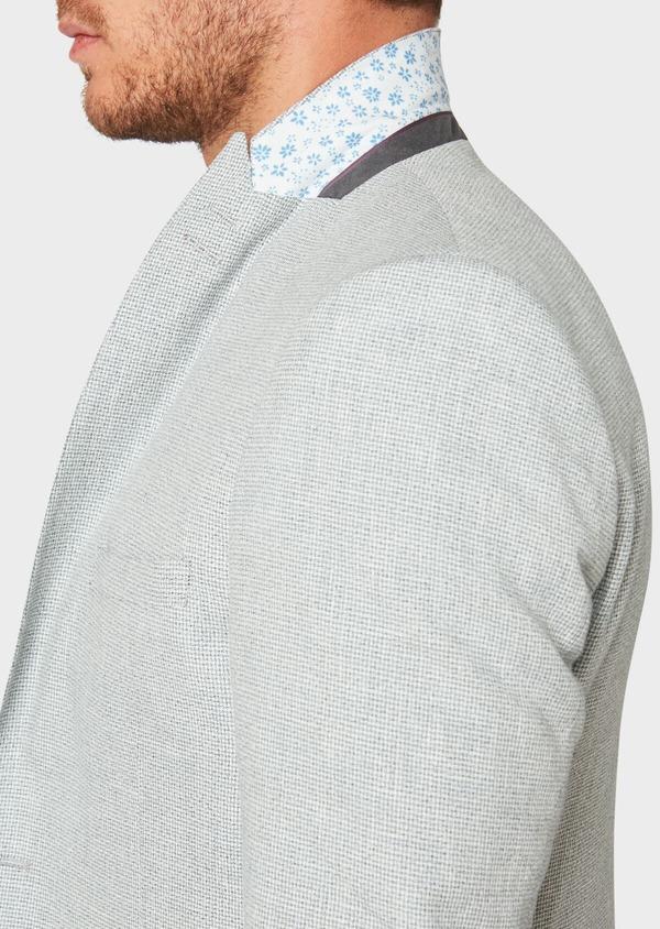 Veste casual Slim en coton et lin gris clair à carreaux - Father and Sons 33652