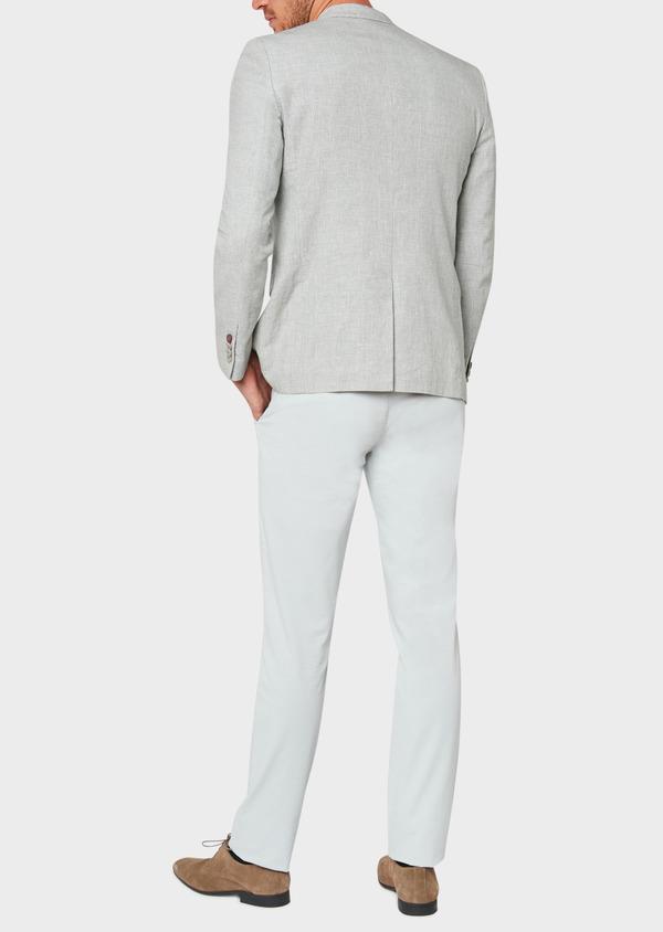 Veste casual Slim en coton et lin gris clair à carreaux - Father and Sons 33651