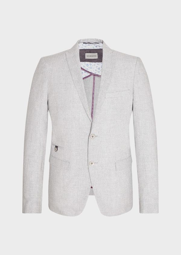 Veste casual Slim en coton et lin gris clair à carreaux - Father and Sons 33648