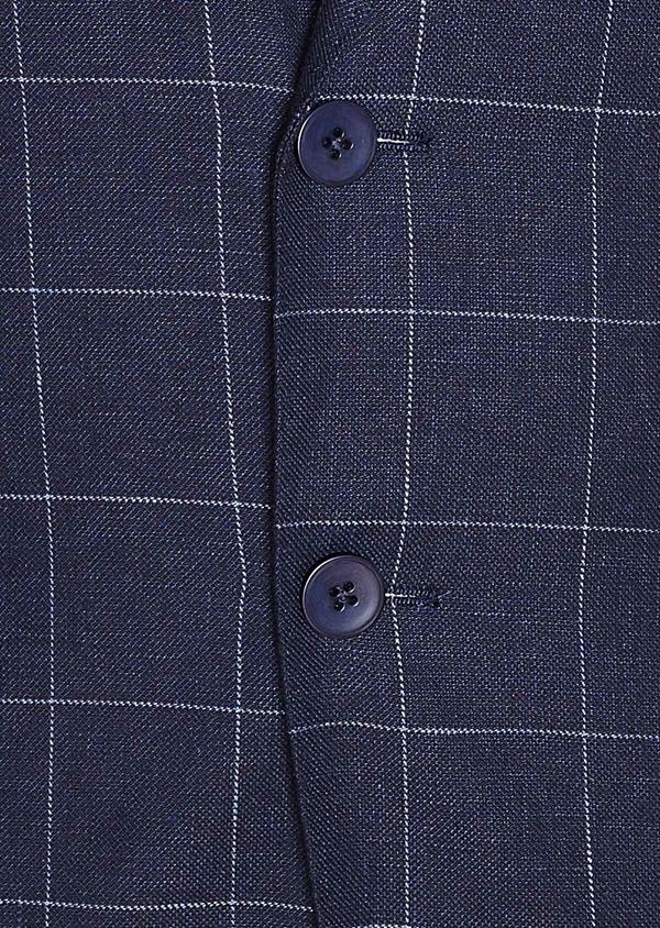 Veste coordonnable Slim en lin et coton bleu marine à carreaux - Father and Sons 33605