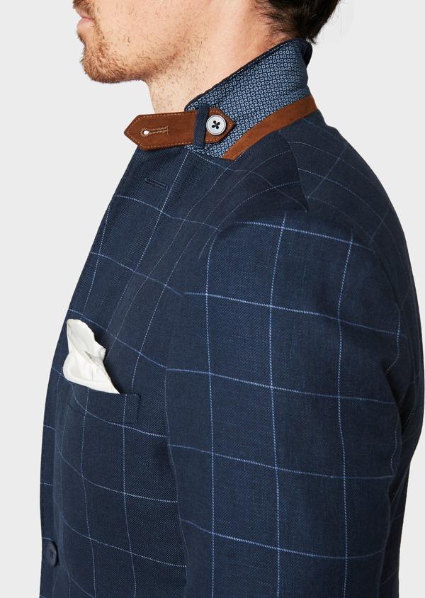 Veste coordonnable Slim en lin et coton bleu marine à carreaux - Father and Sons 33608