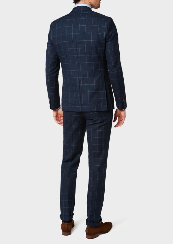 Veste coordonnable Slim en lin et coton bleu marine à carreaux - Father and Sons 33607