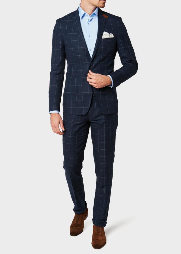 Veste coordonnable Slim en lin et coton bleu marine à carreaux - Father and Sons 33606