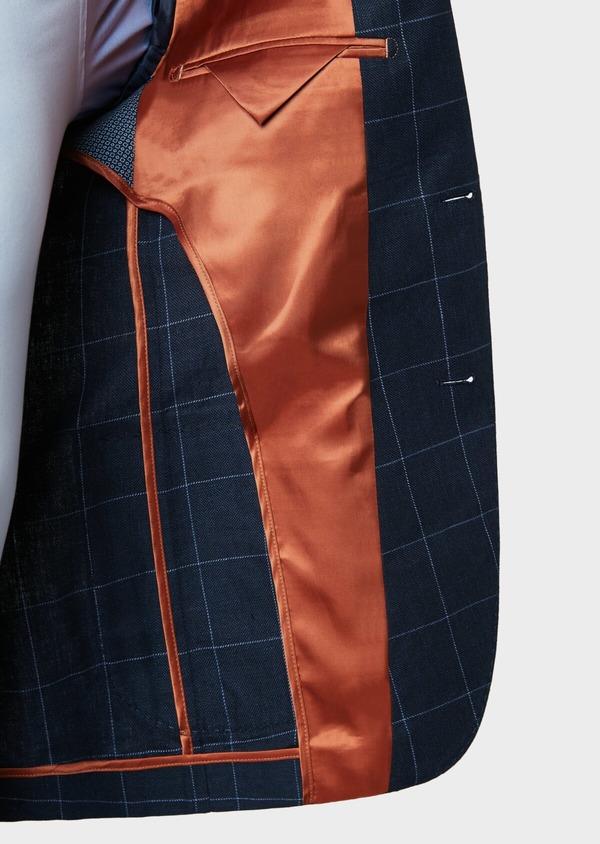 Veste coordonnable Slim en lin et coton bleu marine à carreaux - Father and Sons 33610