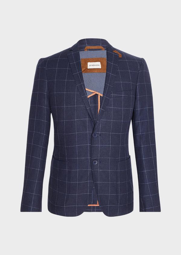Veste coordonnable Slim en lin et coton bleu marine à carreaux - Father and Sons 33604