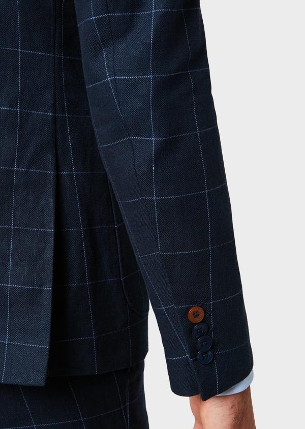 Veste coordonnable Slim en lin et coton bleu marine à carreaux - Father and Sons 33609