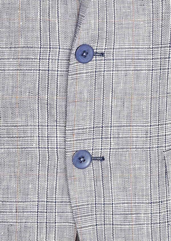 Veste coordonnable Slim en lin bleu Prince de Galles - Father and Sons 33585
