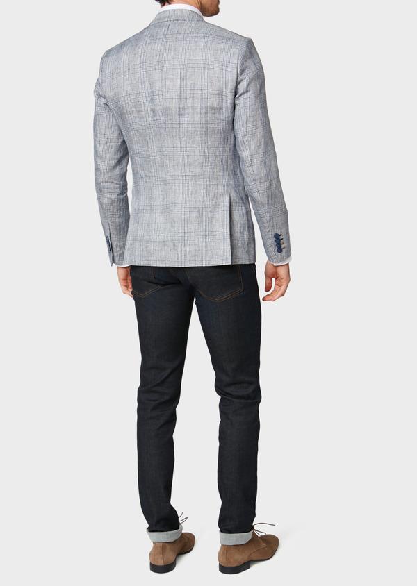 Veste coordonnable Slim en lin bleu Prince de Galles - Father and Sons 33587