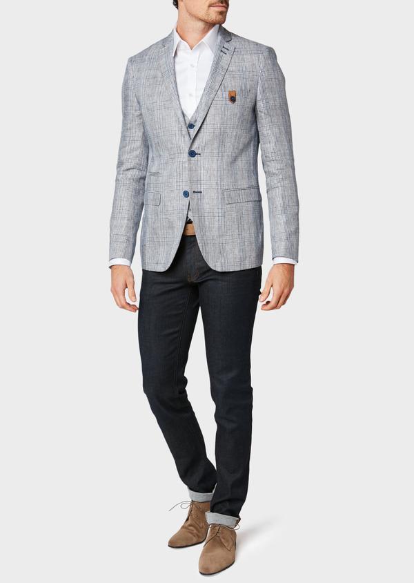 Veste coordonnable Slim en lin bleu Prince de Galles - Father and Sons 33586