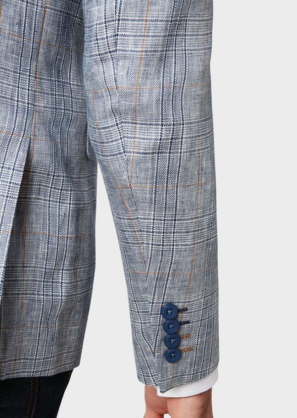 Veste coordonnable Slim en lin bleu Prince de Galles - Father and Sons 33589