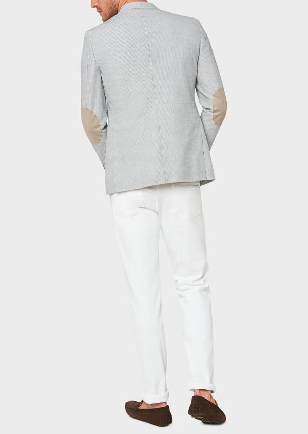 Veste coordonnable Slim en coton stretch bleu indigo à rayures - Father and Sons 33630