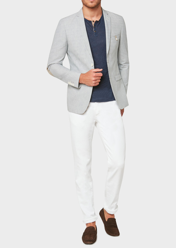 Veste coordonnable Slim en coton stretch bleu indigo à rayures - Father and Sons 33629