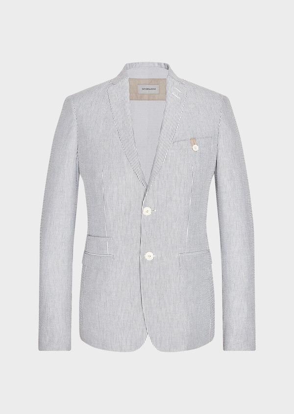 Veste coordonnable Slim en coton stretch bleu indigo à rayures - Father and Sons 33627
