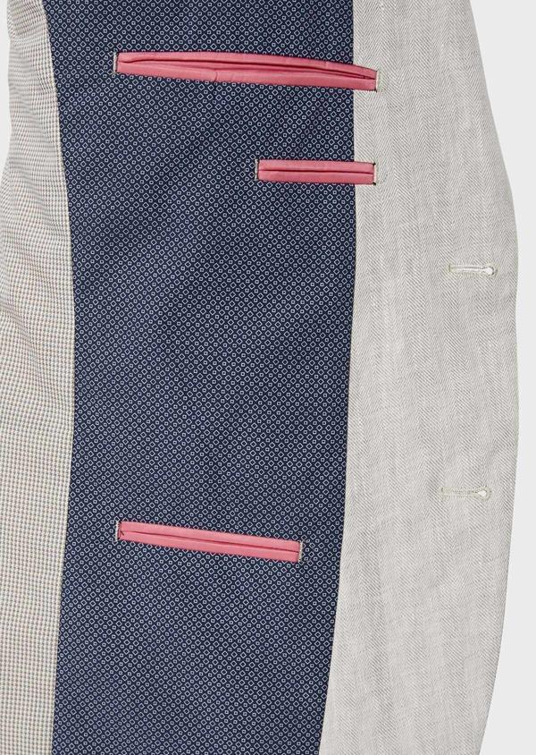 Veste coordonnable Slim en lin uni gris clair - Father and Sons 34553