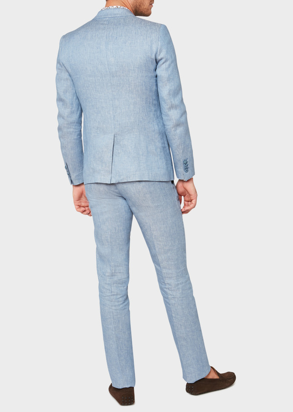 Veste coordonnable Slim en lin uni bleu turquin - Father and Sons 33666