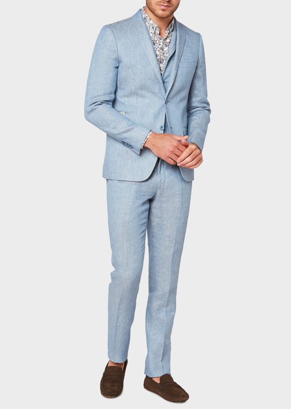 Veste coordonnable Slim en lin uni bleu turquin - Father and Sons 33665