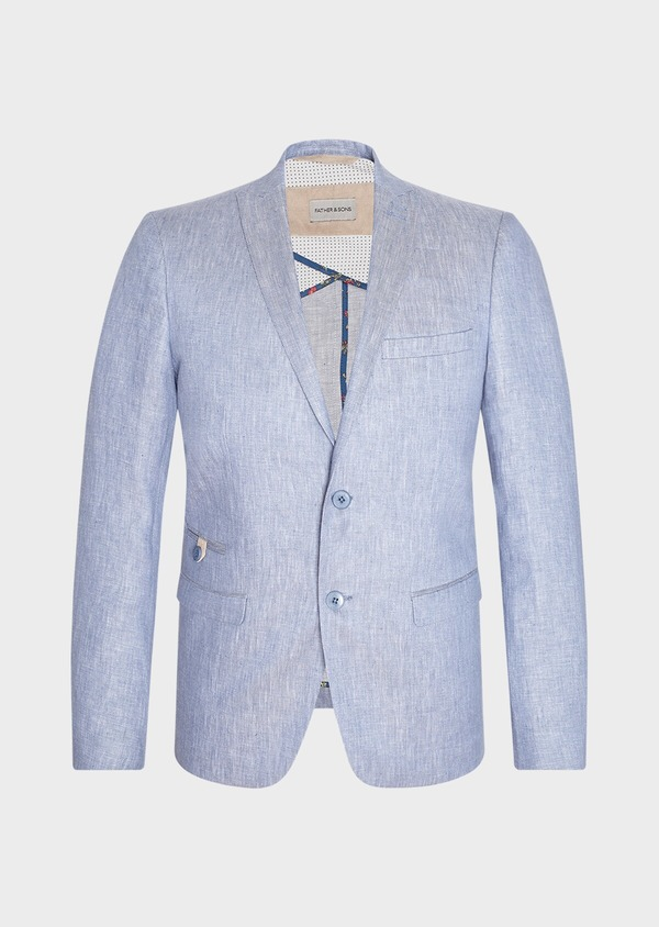 Veste coordonnable Slim en lin uni bleu turquin - Father and Sons 33663