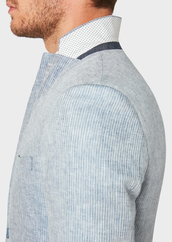 Veste coordonnable Slim en lin uni bleu turquin - Father and Sons 33673