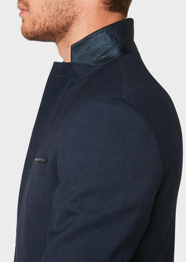 Veste de costume voyage Regular en laine unie bleu marine - Father and Sons 31843