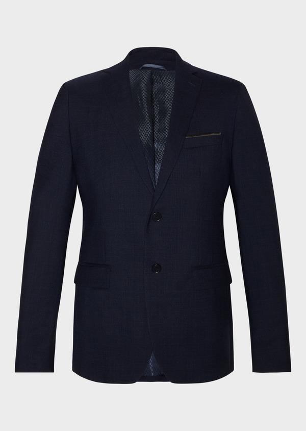 Veste de costume voyage Regular en laine unie bleu marine - Father and Sons 31839