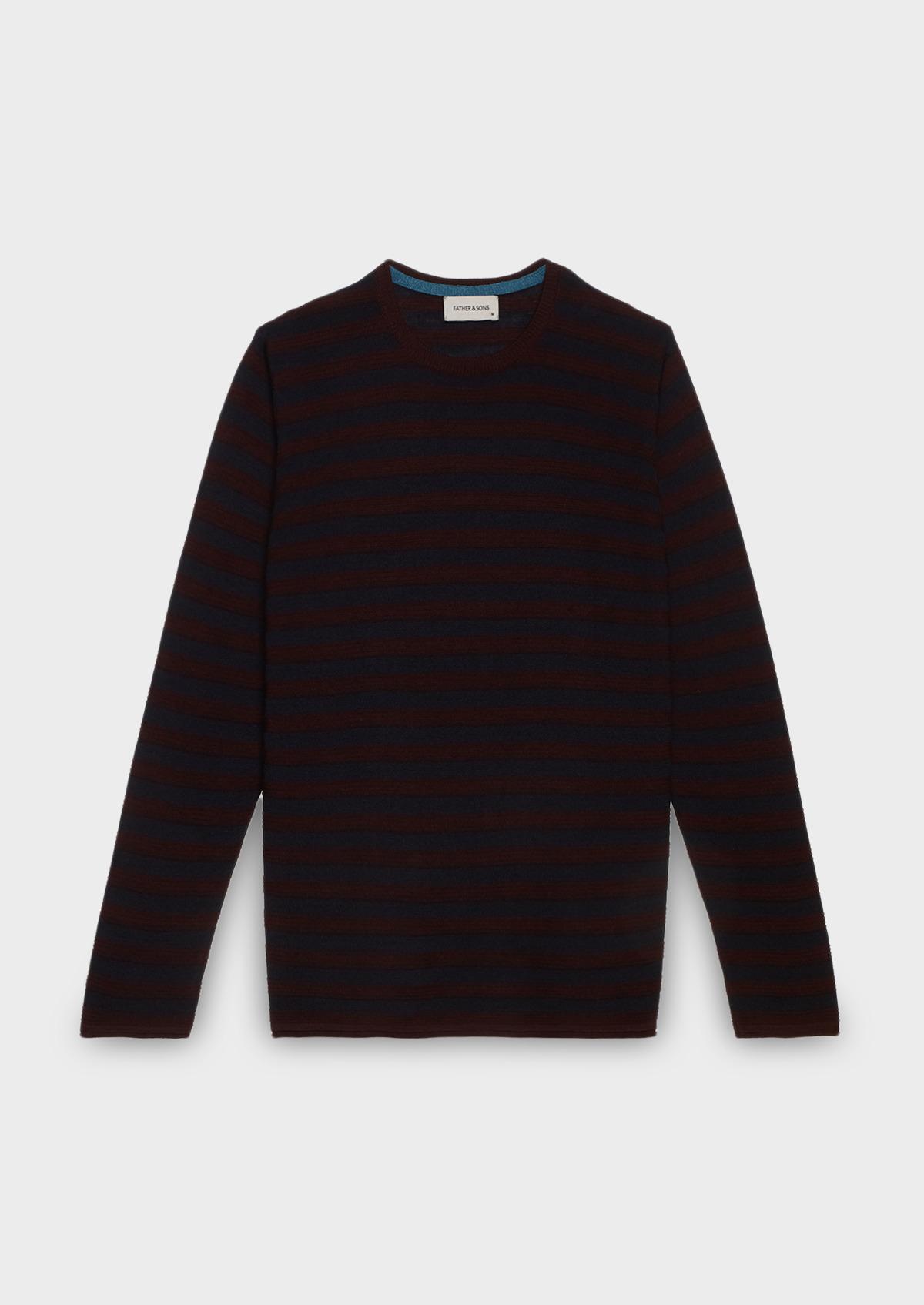 Pull en laine mérinos col rond rayé bordeaux et bleu