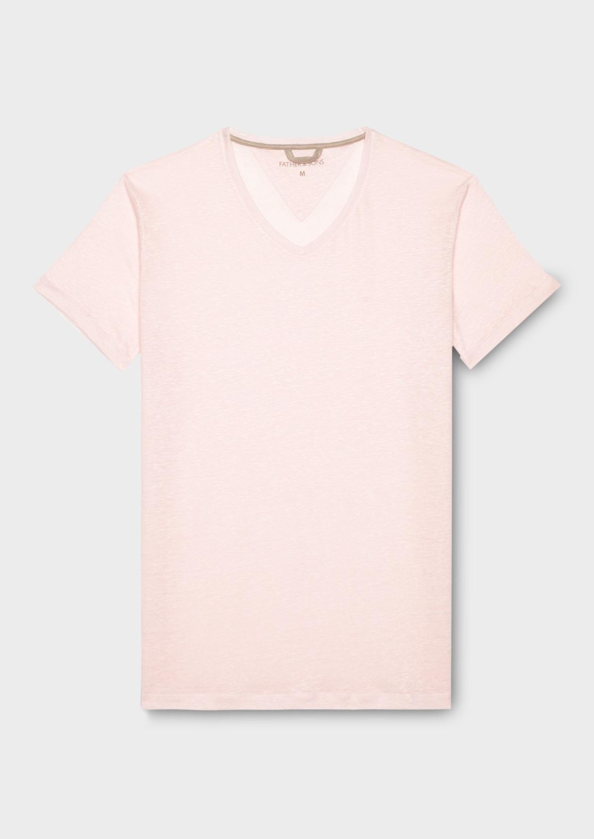 1f47628ea Tee-shirt manches courtes en lin col V rose
