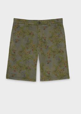 Bermuda en coton stretch vert kaki à motif fantaisie 1 - Father And Sons