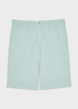 Bermuda en coton stretch uni vert clair 1 - Father And Sons