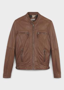 Blouson Biker en cuir uni marron 1 - Father And Sons