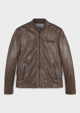 Blouson Biker en cuir uni marron foncé 1 - Father And Sons
