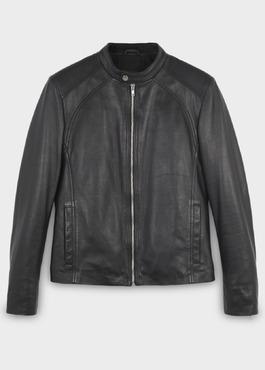 Blouson Biker en cuir uni noir 1 - Father And Sons