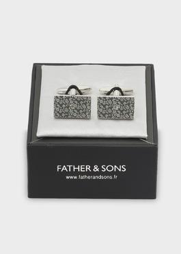 Boutons de manchettes rectangulaires motif fleuri argent 2 - Father And Sons