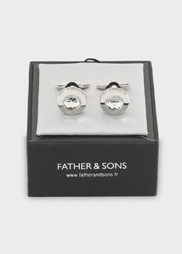 Boutons de manchettes ronds argent et blanc 2 - Father And Sons