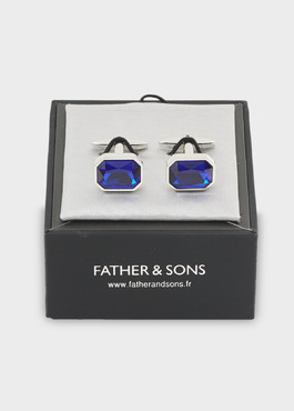 Boutons de manchettes ovales bleu clair 2 - Father And Sons