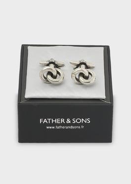 Boutons de manchettes anneaux argent 2 - Father And Sons