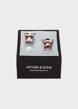 Boutons de manchettes carrés rose clair 2 - Father And Sons