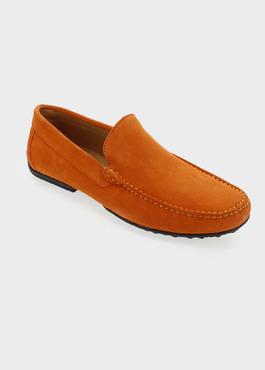 Mocassins en daim orange 1 - Father And Sons