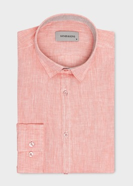 Chemise sport Slim en lin uni corail 1 - Father And Sons