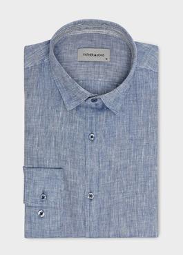 Chemise sport Slim en lin uni bleu jeans 1 - Father And Sons
